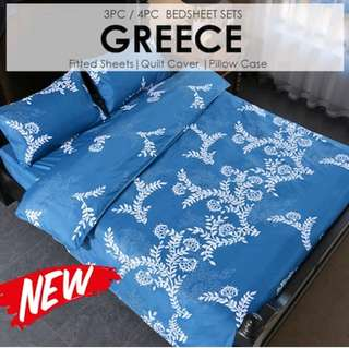 Greece Quilt Cover/ Fitted Sheet Set 800 Thread Counts