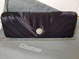 Chomel Satin Black Evening Clutch