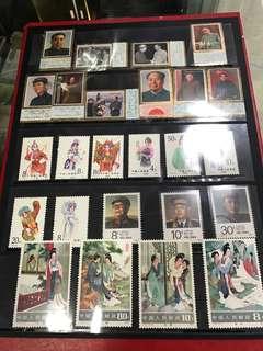 中國郵票,j13,周恩來,j21,毛澤東,j138,葉劍英.T82,西厢記,丅87,旦角.五套共售: