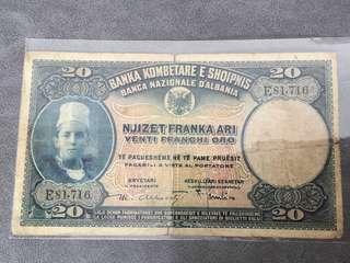 1926年 亞爾巴尼亞 中東地區巴爾幹半島 20面額紙幣