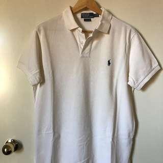Mens Large Ralph Lauren White Polo Shirt Top