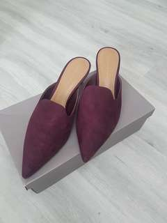 Charles and Keith Kitten Mules Burgundy