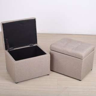 Light Brown Small Fabric Ottoman / Storage Box