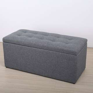 Grey Medium Fabric Ottoman/ Storage Box/ Bench
