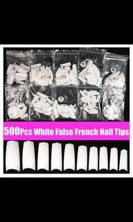 500pcs White Acrylic French False 3D Nail Art Half Tips