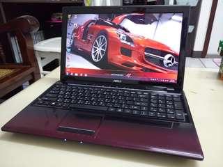 Msi 15.6inch/AMD/win7/4Gb/320Gb Hdd/Gaming /English language laptop