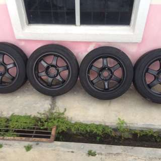 Rays TE37 R16 x 7.5jj 4 hold 114.3 PCD with tyres for sell