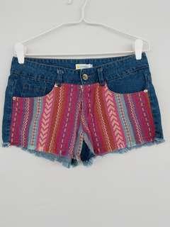 Tribal design denim shorts