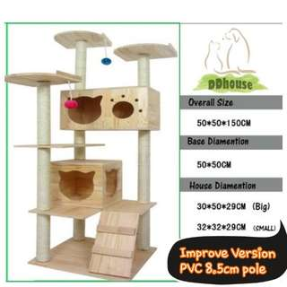 [Instock] Improved version PVC 8.5cm sisal scratch Poles premium quality wooden cat trees High Quality Solid Wood Triple Top Large Wooden Cat Tree / PVC Cat scratchers / wooden Cat Condo cat climbers cat gym