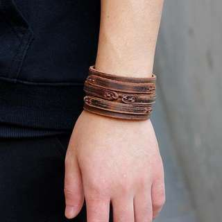 Men's bracelet GENUINE leather brown wrap