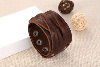 Men's bracelet wrap thick leather brown