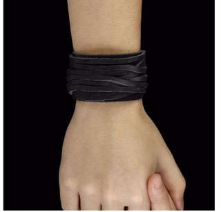 Men's bracelet thick leather wrap BLACK