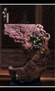 Bodhisattva Statue Moon Stand/Sit 月亮木纹座 (风水) - 倒流香