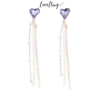 Lovebling紅心長珍珠耳環 紫色