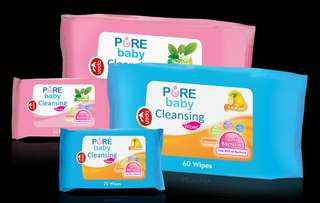 Pure Baby Cleansing Wipes 60's (Blue : lemon)