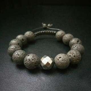 🚚 Lava Shamballa Bracelet, 12mm Lava Rock with Silver Hematite Macrame Bracelet, Lava Adjustable Bracelet, Men's Gemstones Shamballa Bracelet,