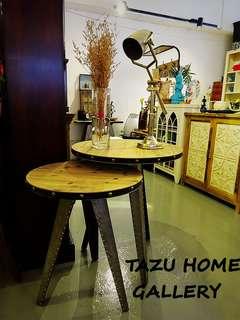TAZU新品推介:新到出口北歐型格實木金屬工業懷舊大,細茶几,角几,組合.
