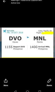 1 way ticket Davao to Manila
