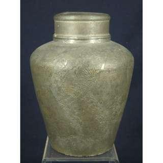 薩摩錫 朝日堂制 昭和4年(1929)3月 薄意松竹梅錫茶罐