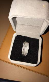 Platinum band with diamonds 1 carat in total size 7