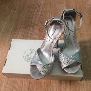 Gibi Peep Toe Silver Prom Pumps 3.5inch heel