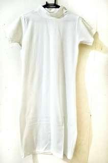 Korean-inspired White Turtleneck Dress with Slit ✨