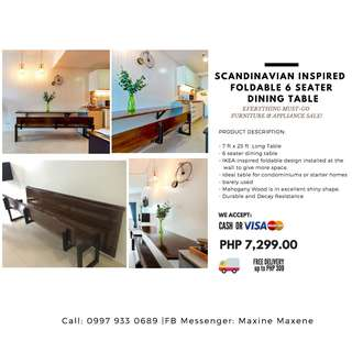 Scandinavian Dining Table Foldable with 6 seater Bench