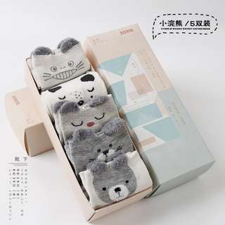 Solitude Grey Bear socks