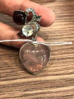 Rose quartz moonstone tourmaline pendant