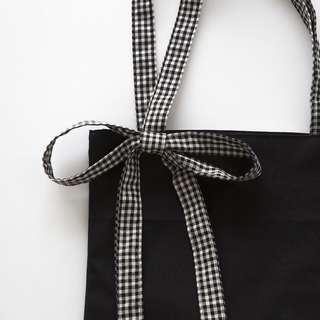 ulzzang tote bad with checkered ribbon bands