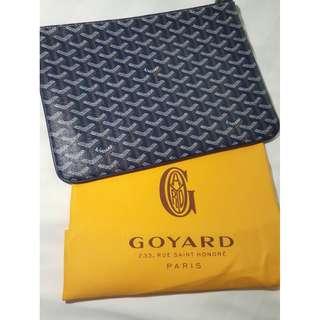 GOYARD Navy Blue SENAT MM Pouch Clutch Bag Monogram SESAME Canvas *UNISEX*!!