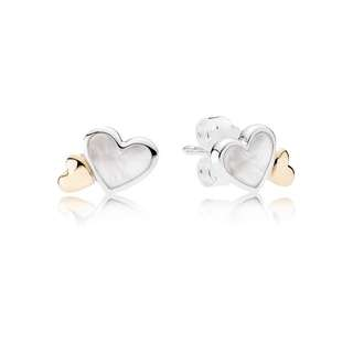 Pandora Luminous Hearts Earring Stud Two Tone Mother Of Pearl and 14k Gold