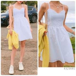夏日吊帶連身裙(3色: Black/White/Yellow)