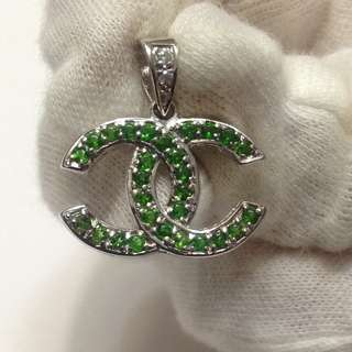 Chrome Diopside Silver Pendant