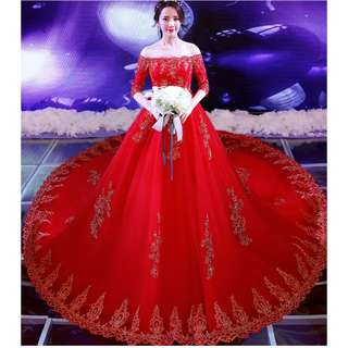 Wedding Collection - Blossom Red T-Off Shoulder Mid Length Sleeves Long Tail Wedding Gown