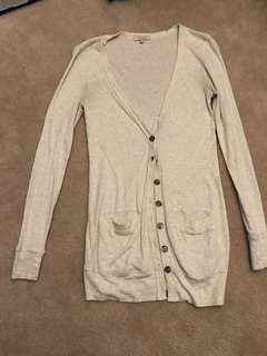 Aritzia Talula Heather White Long Cardigan (Small)