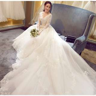 Wedding Collection - Sexy & Noble Deep V Long Sleeves Design Long Tail Wedding Gown