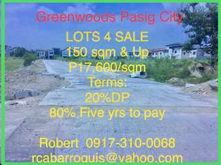 RESIDENTIAL LOTS 4 SALE - 150 m2 - P17,600/m2 - Greenwoods Pasig City