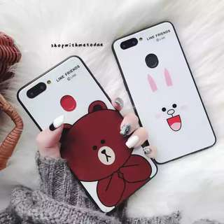 Line Friends Glass Brown Cony Oppo R9S / R11 / R11S + casing