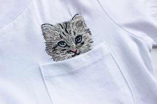 🚚 OshareGirl 05 歐美女士精緻貓咪刺繡口袋短袖上衣T恤