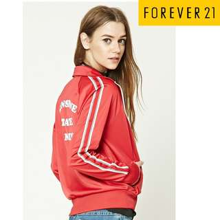 New Authentic Forever 21 Red Small Collared Jersey Track Blazer Jacket