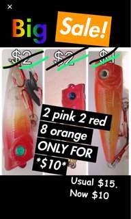 Sale!: 2pink 2red 8orange baits only $10