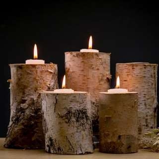 Forest Living Natural Beech Wood Candle Holder