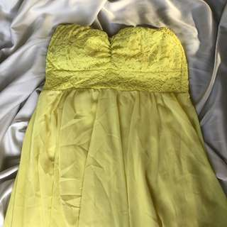 Yellow Laced Up Gown