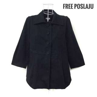 COAT'S Black Outerwear with Cropped Sleeves [Free Poslaju]