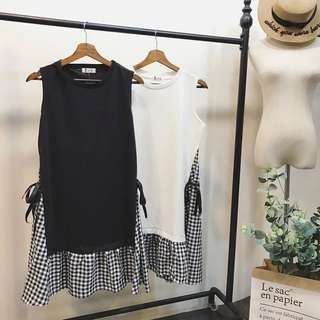 Korean style black and checked dress