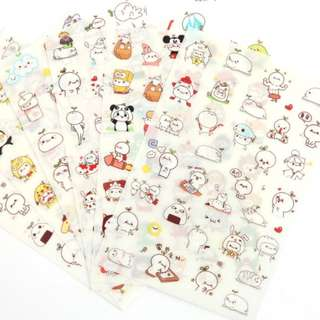 Cute Bunny PVC Stickers (6 sheets)