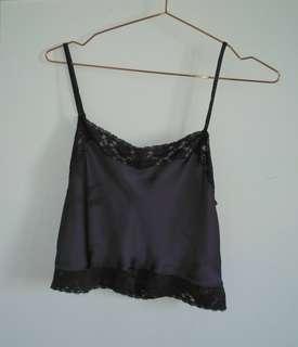 Dark grey silk lace cami crop