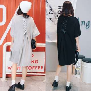 Plus Size Summer Back Bandwidth Loose Long Short Sleeve T-Shirt Dress