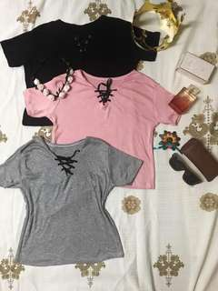 V-neck with cross lace